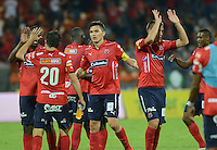 MEDELLIN - COLOMBIA -10-12-2015: Los jugadores Deportivo Independiente Medellin celebran la victoria sobre Atletico Nacional durante partido de ida entre Deportivo Independiente Medellin y Atletico Nacional por las semifinales de la Liga Aguila II 2015, en el estadio Atanasio Girardot de la ciudad de Medellin.  / The players of Deportivo Independiente Medellin celebrate the victory against to Atletico Nacional during a match for the first leg between Deportivo Independiente Medellin and Atletico Nacional for the semifinals of the Liga Aguila II 2015 at the Atanasio Girardot stadium in Medellin city. Photos: VizzorImage  / Leon Monsalve / Cont.