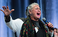 Ginette Reno sings during a memorial service in honour of Lise Payette in Montreal, Saturday, October 20, 2018. THE CANADIAN PRESS/Graham Hughes