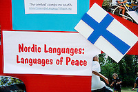 Nordic Finish language school poster. Svenskarnas Dag Swedish Heritage Day Minnehaha Park Minneapolis Minnesota USA