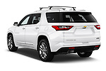 Car pictures of rear three quarter view of a 2018 Chevrolet Traverse High Country 5 Door SUV angular rear