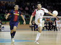 Caja Segovia's Sergio Gonzalez (r) and FC Barcelona Alusport's Sergio Lozano during Spanish National Futsal League match.November 24,2012. (ALTERPHOTOS/Acero) /NortePhoto