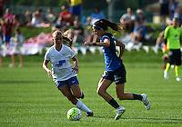 Kansas City, MO - Sunday August 28, 2016: Stephanie Verdoia, Erika Tymrak during a regular season National Women's Soccer League (NWSL) match between FC Kansas City and the Boston Breakers at Swope Soccer Village.