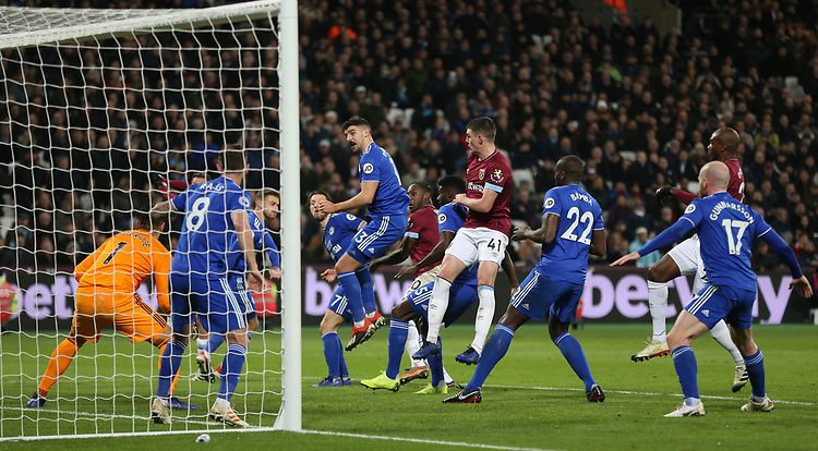 West Ham United's Michail Antonio scores his side's third goal <br /> <br /> Photographer Rob Newell/CameraSport<br /> <br /> The Premier League - West Ham United v Cardiff City - Tuesday 4th December 2018 - London Stadium - London<br /> <br /> World Copyright © 2018 CameraSport. All rights reserved. 43 Linden Ave. Countesthorpe. Leicester. England. LE8 5PG - Tel: +44 (0) 116 277 4147 - admin@camerasport.com - www.camerasport.com