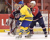 Jonathan Quick (University of Massachusetts-Amherst - Los Angeles Kings), Anton Axelsson (Frolunda HC - Detroit Red Wings), Zach Jones (University of North Dakota)  The US Blue team lost to Sweden 3-2 in a shootout as part of the 2005 Summer Hockey Challenge at the National Junior (U-20) Evaluation Camp in the 1980 rink at Lake Placid, NY on Saturday, August 13, 2005.
