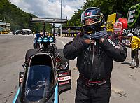 Jun 17, 2017; Bristol, TN, USA; NHRA top fuel driver Scott Palmer during qualifying for the Thunder Valley Nationals at Bristol Dragway. Mandatory Credit: Mark J. Rebilas-USA TODAY Sports