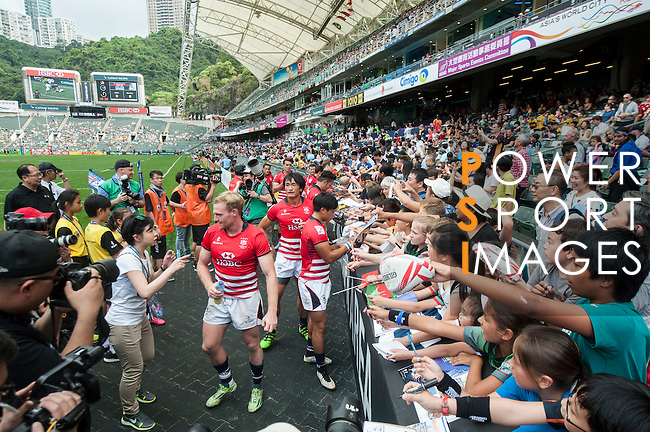The Hong Kong team signs autograph at the HSBC Hong Kong Rugby Sevens 2016 on 08 April 2016 at Hong Kong Stadium in Hong Kong, China. Photo by Marcio Machado / Power Sport Images