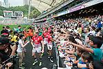 The Hong Kong team signs autograph at the HSBC Hong Kong Rugby Sevens 2016 on 08 April 2016 at Hong Kong Stadium in Hong Kong, China. Photo by Marcio Machado / Power Sport Images