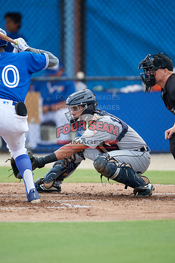 GCL Tigers West catcher Eduardo Valencia (14) during a Gulf Coast League game against the GCL Blue Jays on August 3, 2019 at the Englebert Complex in Dunedin, Florida.  GCL Blue Jays defeated the GCL Tigers West 4-3.  (Mike Janes/Four Seam Images)