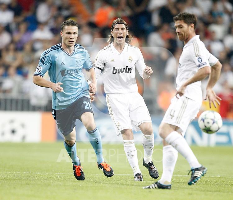 Real Madrid's Sergio Ramos against AFC Ajax Amsterdam's Derk Boerrigter during UEFA Champions League match. September 27, 2011. (ALTERPHOTOS/Alvaro Hernandez)