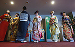 February16, 2013, Tokyo, Japan - Kimono contestants wait to be escorted on stage during the 2013 Kimono Queen Contest. Approximately 500 women dressed in beautifully designed kimonos participate in this annual event for a chance to win special prizes and given the opportunity to be recognized as a kimono model in various media outlets. (Photo by Christopher Jue/Nippon News)