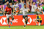 Jerry Tuwai of Fiji (R) runs with the ball during the HSBC Hong Kong Sevens 2018 match between Fiji and Kenya on 08 April 2018, in Hong Kong, Hong Kong. Photo by Marcio Rodrigo Machado / Power Sport Images