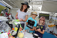 Pictured L-R: Sarah Wygas with son Henry and daughter Martha at Puppet Soup (3rd L) Saturday 13 August 2016<br />Re: Grow Wild event at  Furnace to Flowers site in Ebbw Vale, Wales, UK