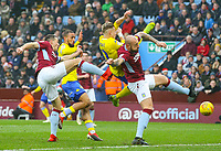 Leeds United's Ezgjan&nbsp;Alioski vies for possession with Aston Villa's Alan Hutton<br /> <br /> Photographer Alex Dodd/CameraSport<br /> <br /> The EFL Sky Bet Championship - Aston Villa v Leeds United - Sunday 23rd December 2018 - Villa Park - Birmingham<br /> <br /> World Copyright &copy; 2018 CameraSport. All rights reserved. 43 Linden Ave. Countesthorpe. Leicester. England. LE8 5PG - Tel: +44 (0) 116 277 4147 - admin@camerasport.com - www.camerasport.com