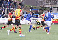Lyndon Dykes controlling the ball in the SPFL Ladbrokes Championship football match between Queen of the South and Partick Thistle at Palmerston Park, Dumfries on  4.5.19.