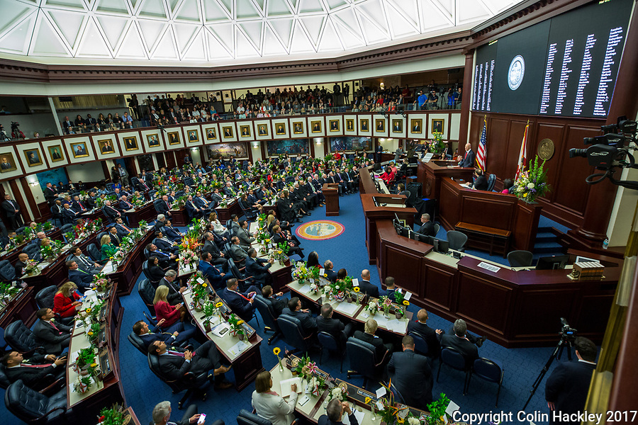 TALLAHASSEE, FLA. 3/7/17-Gov. Rick Scott gives the State of the State address during the  opening day of the 2017 legislative session at the Capitol in Tallahassee.<br /> <br /> COLIN HACKLEY PHOTO