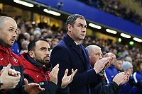 Leon Britton of Swansea City and Swansea City manager Paul Clement prior to kick off of the Premier League match between Chelsea and Swansea City at Stamford Bridge, London, England, UK. Wednesday 29 November 2017