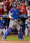 13 October 2016: Los Angeles Dodgers catcher Yasmani Grandal in action during the NLDS Game 5 against the Washington Nationals at Nationals Park in Washington, DC. The Dodgers edged out the Nationals 4-3, to take Game 5, and the Series, 3 games to 2, moving on to the National League Championship against the Chicago Cubs. Mandatory Credit: Ed Wolfstein Photo *** RAW (NEF) Image File Available ***