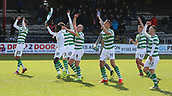 17th March 2019, Dens Park, Dundee, Scotland; Ladbrokes Premiership football, Dundee versus Celtic; Scott Brown of Celtic leads the players dancing and celebrating with the supporters