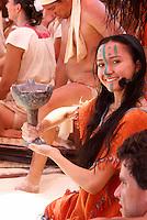 Young woman dancer at Playa del Carmen or Xamanha, Sacred Mayan Journey 2011 event, Riviera Maya, Quintana Roo, Mexico.