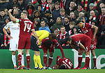 Alex Oxlade Chamberlain of Liverpool lies injured during the Champions League Semi Final 1st Leg match at Anfield Stadium, Liverpool. Picture date: 24th April 2018. Picture credit should read: Simon Bellis/Sportimage