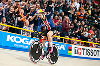 Picture by Alex Whitehead/SWpix.com - 03/03/2018 - Cycling - 2018 UCI Track Cycling World Championships, Day 4 - Omnisport, Apeldoorn, Netherlands - Chloe Dygert celebrates breaking the World Record during the Women's Individual Pursuit qualifying.