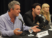 August 25 2012 - Montreal (Qc) CANADA -  News Conference for TWO JACKS with Danny Huston, actor  (L), his son Jack Huston, actor and Julia Verdin, producer.  TWO JACKS is in the Official Competien of Montreal World Film Festival that run til September 3, 2012.<br /> <br /> Danny Huston is the son of filmmaker John Huston