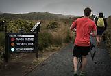 NEW ZEALAND, Tongariro National Park, Volcano Warning Sign at the Start of the Tongariro Alpine Crosing, Ben M Thomas