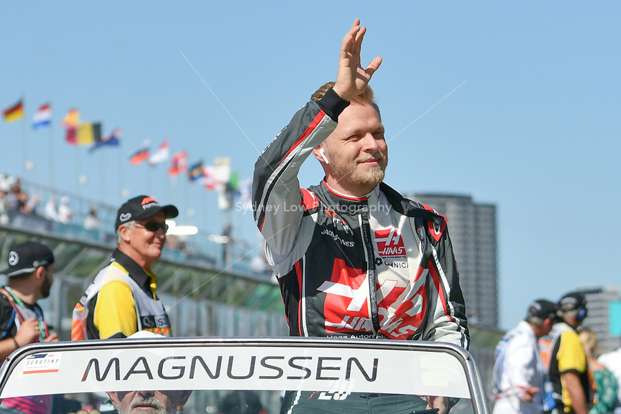 March 25, 2018: Kevin Magnussen (DEN) #20 from the Haas F1 Team waves to the crowd during the drivers' parade at the 2018 Australian Formula One Grand Prix at Albert Park, Melbourne, Australia. Photo Sydney Low