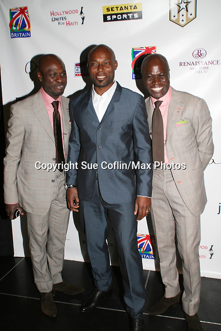 Jimmy Jean-Louis with Ron and Ron at the intimate gathering to benefit Hollywood Unites for Haiti given by Setanta Sports and Hollywood United on April 11, 2009 at Opia Lounge, NYC. (Photo by Sue Cofln/Max Photos)