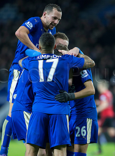 01.03.2016. King Power Stadium, Leicester, England. Barclays Premier League. Leicester versus West Bromwich Albion. Leicester City midfielder Andy King celebrates with his team mates after scoring a goal in the 46th minutes of the first half to take Leicester City ahead 2-1.