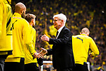 11.05.2019, Signal Iduna Park, Dortmund, GER, 1.FBL, Borussia Dortmund vs Fortuna D&uuml;sseldorf, DFL REGULATIONS PROHIBIT ANY USE OF PHOTOGRAPHS AS IMAGE SEQUENCES AND/OR QUASI-VIDEO<br /> <br /> im Bild | picture shows:<br /> Reinhard Rauball (Praesident BVB) begruesst Marcel Schmelzer (Borussia Dortmund #29) und die Spieler, <br /> <br /> Foto &copy; nordphoto / Rauch