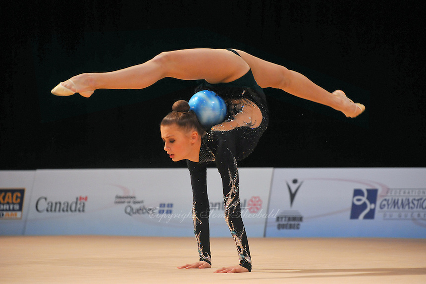 Yana Lukonina of Russia performs with ball during event finals at World Cup Montreal on January 30, 2011.  (Photo by Tom Theobald).