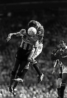 Pix:Michael Steele/SWpix...Soccer. Manchester United v Sheffield Wednesday, 1993...COPYRIGHT PICTURE>>SIMON WILKINSON..Viv Anderson vs Gary Pallister, Manchester United v Sheffield Wednesday, 1993.