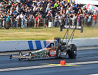 Jun 6, 2015; Englishtown, NJ, USA; NHRA top fuel driver Terry McMillen during qualifying for the Summernationals at Old Bridge Township Raceway Park. Mandatory Credit: Mark J. Rebilas-