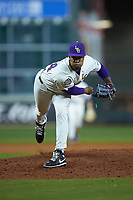 LSU Tigers relief pitcher Jaden Hill (44) follows through on his delivery against the Texas Longhorns in game three of the 2020 Shriners Hospitals for Children College Classic at Minute Maid Park on February 28, 2020 in Houston, Texas. The Tigers defeated the Longhorns 4-3. (Brian Westerholt/Four Seam Images)
