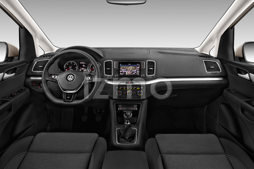 Stock photo of straight dashboard view of 2016 Volkswagen Sharan Confortline 5 Door Minivan Dashboard