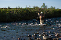 150620-JRE-7981E-0101 Cal Trout, a teacher and quail hunting guide from Mississippi, fishes an interior Alaska stream for Arctic Grayling.
