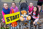 Roanna O'Sullivan, Jane Lynch, Aobhin O'Sullivan and Ruth Lynch with Teddy Lynch the teddy bear at the 200th Tralee Park Run on Saturday.