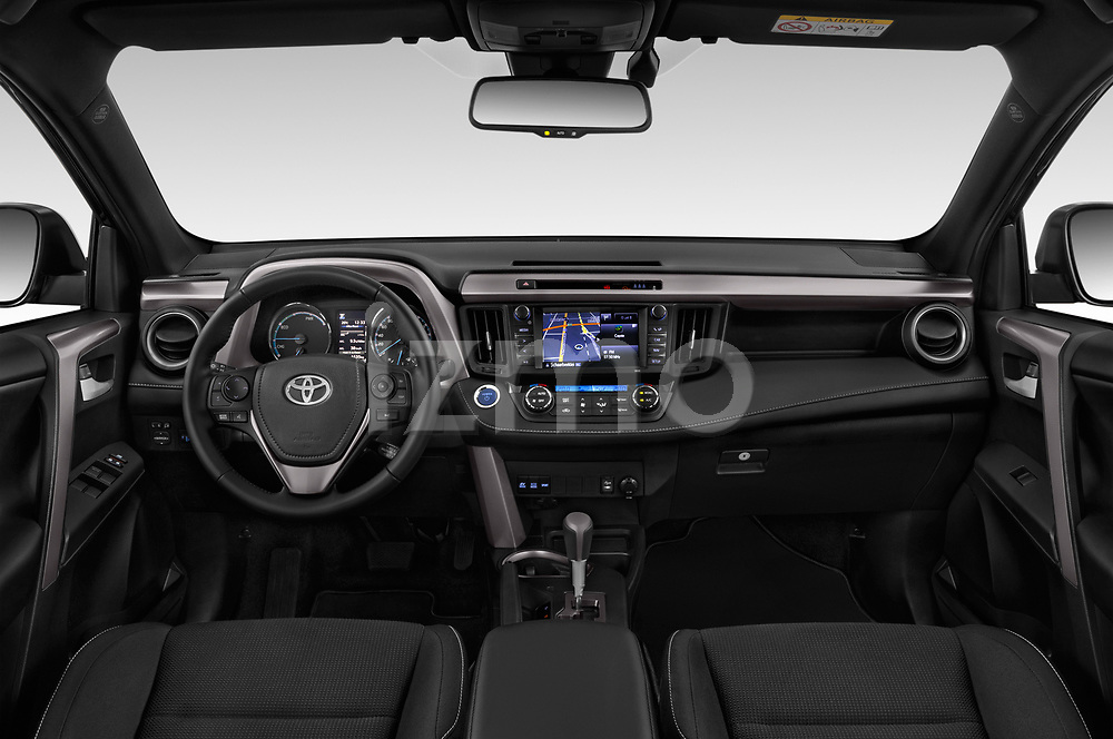 Stock photo of straight dashboard view of a 2018 Toyota RAV4 Black edition Hybride 5 Door SUV