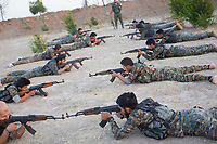August 2017. Rojava, Syria.<br /> New recruits are put through training at an MFS academy in Al-Hasakah, norther Syria. All the new intake do not necessarily fight once they graduate, but go on to perform tasks such as further training, further education and logistics. <br /> The MFS are a group of Assyrian Christians who fight alongside the Syrian Democratic Forces in the fight to topple ISIS.<br /> Photographer: Rick Findler