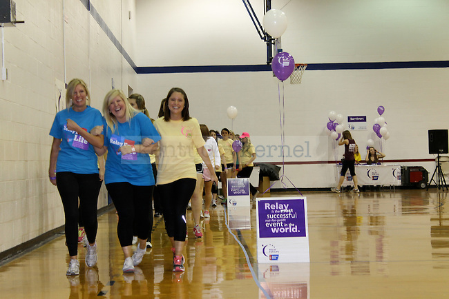 Members of the Delta Zeta sorority walk at Relay for Life. Photo by Genevieve Adams | Staff