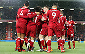 17th March 2018, Anfield, Liverpool, England; EPL Premier League football, Liverpool versus Watford; Mohammed Salah of Liverpool is congratulate after scoring his hat trick goal by his team mates