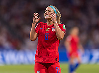 LYON,  - JULY 2: Julie Ertz #8 reacts to a missed shot during a game between England and USWNT at Stade de Lyon on July 2, 2019 in Lyon, France.
