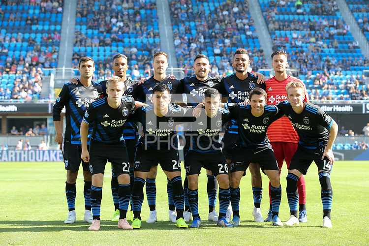 San Jose, CA - Sunday October 21, 2018: San Jose Earthquakes Starting Eleven prior to a Major League Soccer (MLS) match between the San Jose Earthquakes and the Colorado Rapids at Avaya Stadium.
