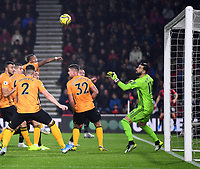 23rd November 2019; Vitality Stadium, Bournemouth, Dorset, England; English Premier League Football, Bournemouth Athletic versus Wolverhampton Wanderers; Rui Patricio of Wolverhampton Wanderers can only watch as Steve Cook of Bournemouth header finds the net in the 59th minute 1-2 - Strictly Editorial Use Only. No use with unauthorized audio, video, data, fixture lists, club/league logos or 'live' services. Online in-match use limited to 120 images, no video emulation. No use in betting, games or single club/league/player publications