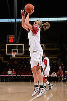 STANFORD, CA - NOVEMBER 26: Mikaela Ruef of Stanford women's basketball warms up prior to a game against South Carolina on November 26, 2010 at Maples Pavilion in Stanford, California.  Stanford topped South Carolina, 70-32.