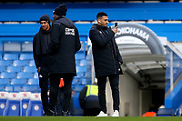 Huddersfield Town's recent signing from Charlton Athletic, Karlan Grant, takes a selfie on the pitch soon after their arrival at the ground during Chelsea vs Huddersfield Town, Premier League Football at Stamford Bridge on 2nd February 2019