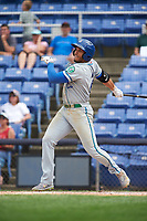 Hartford Yard Goats left fielder Dillon Thomas (25) hits a single in the top of the ninth inning during a game against the Binghamton Rumble Ponies on July 9, 2017 at NYSEG Stadium in Binghamton, New York.  Hartford defeated Binghamton 7-3.  (Mike Janes/Four Seam Images)