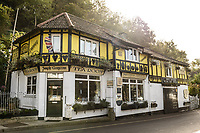 Tea rooms at Cheddar Gorge, Cheddar, UK, October 16, 2017. Spectacular Cheddar Gorge features the highest inland cliffs in the UK. The nearby village of Cheddar is also the birthplace of the eponymous cheese.