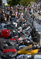 NWA Democrat-Gazette/BEN GOFF @NWABENGOFF<br /> Motorcycles line Dickson Street on Saturday Sept. 26, 2015 during the annual Bikes, Blues & BBQ motorcycle rally in downtown Fayetteville.
